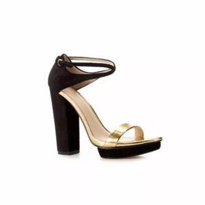 Zara | Black Suede/Metallic Gold Cross-Strap Heels
